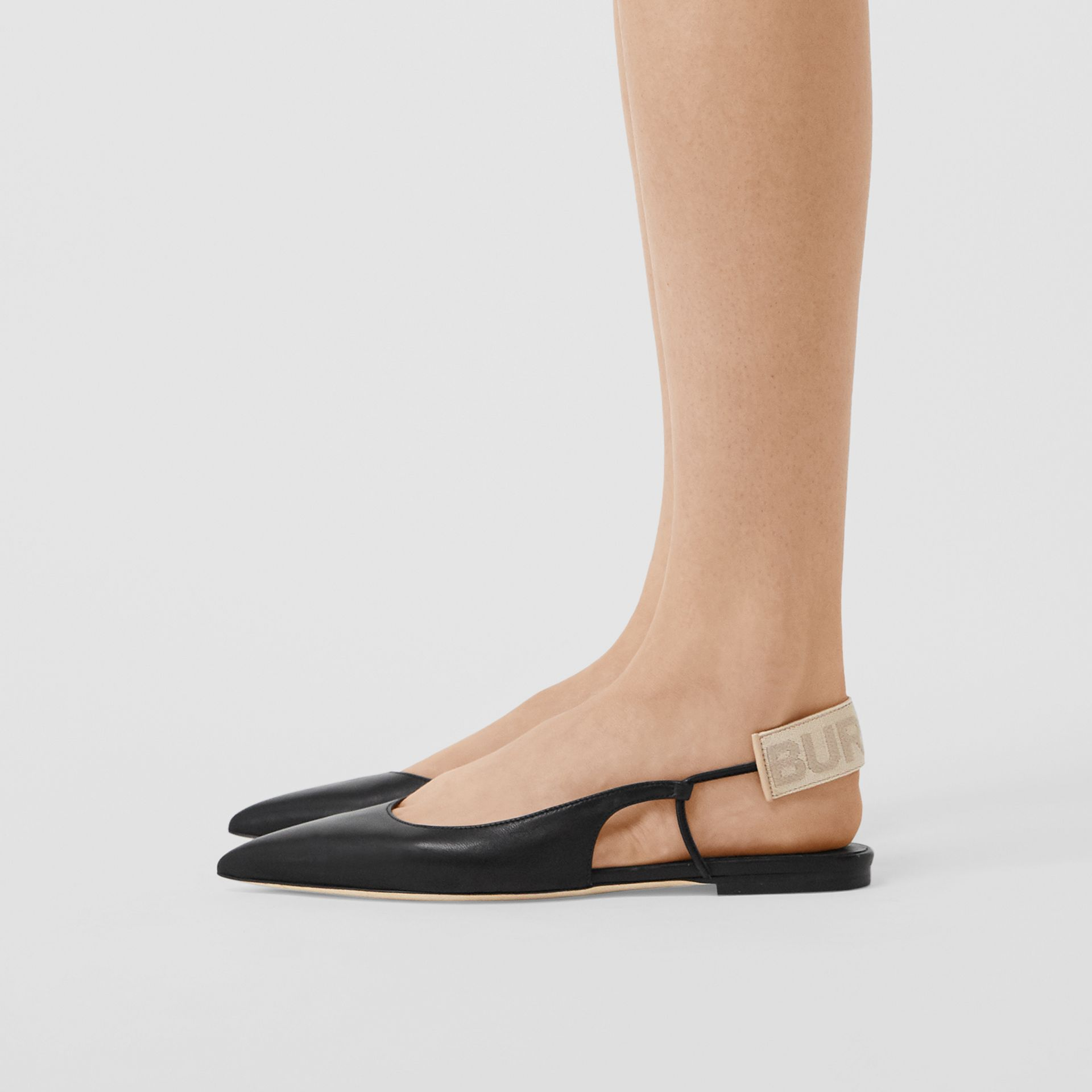 Logo Detail Leather Slingback Flats in Black - Women | Burberry United Kingdom - gallery image 2