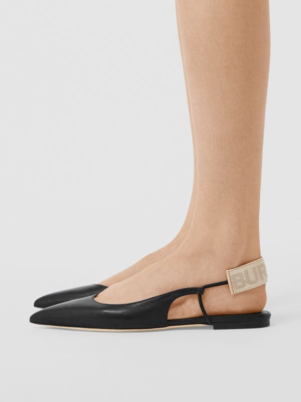 Logo Detail Leather Slingback Flats in Black - Women | Burberry United Kingdom - cell image 2