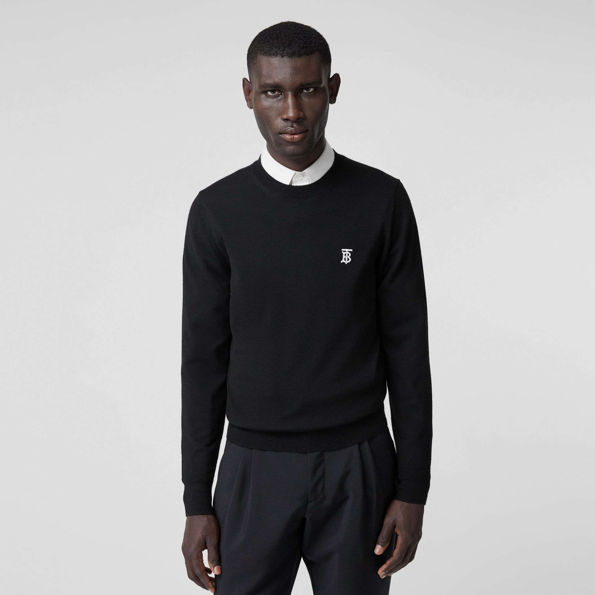 Monogram Motif Merino Wool Sweater in Black - Men | Burberry Australia - gallery image 4