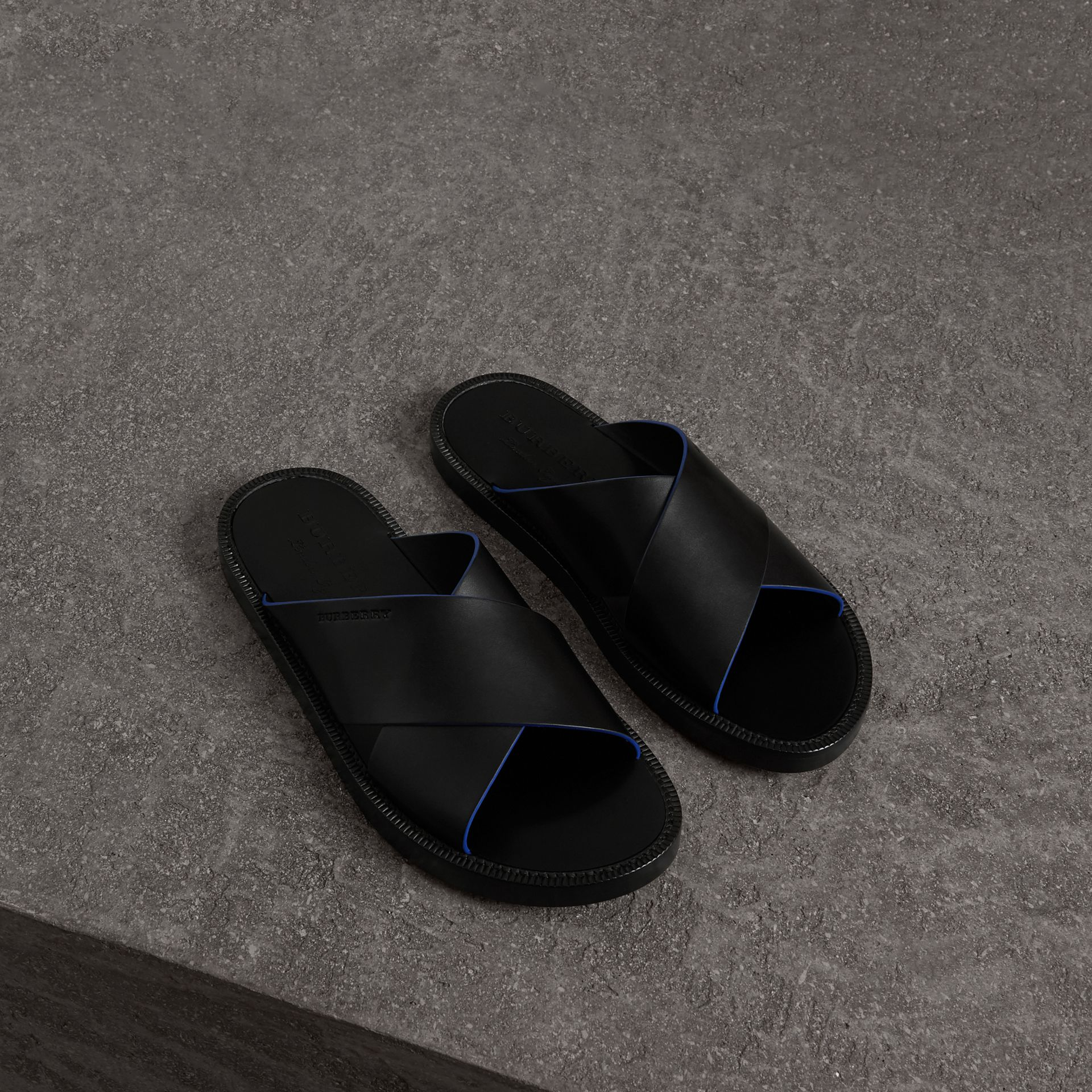 Contrast Detail Leather Sandals in Black - Men | Burberry - gallery image 0