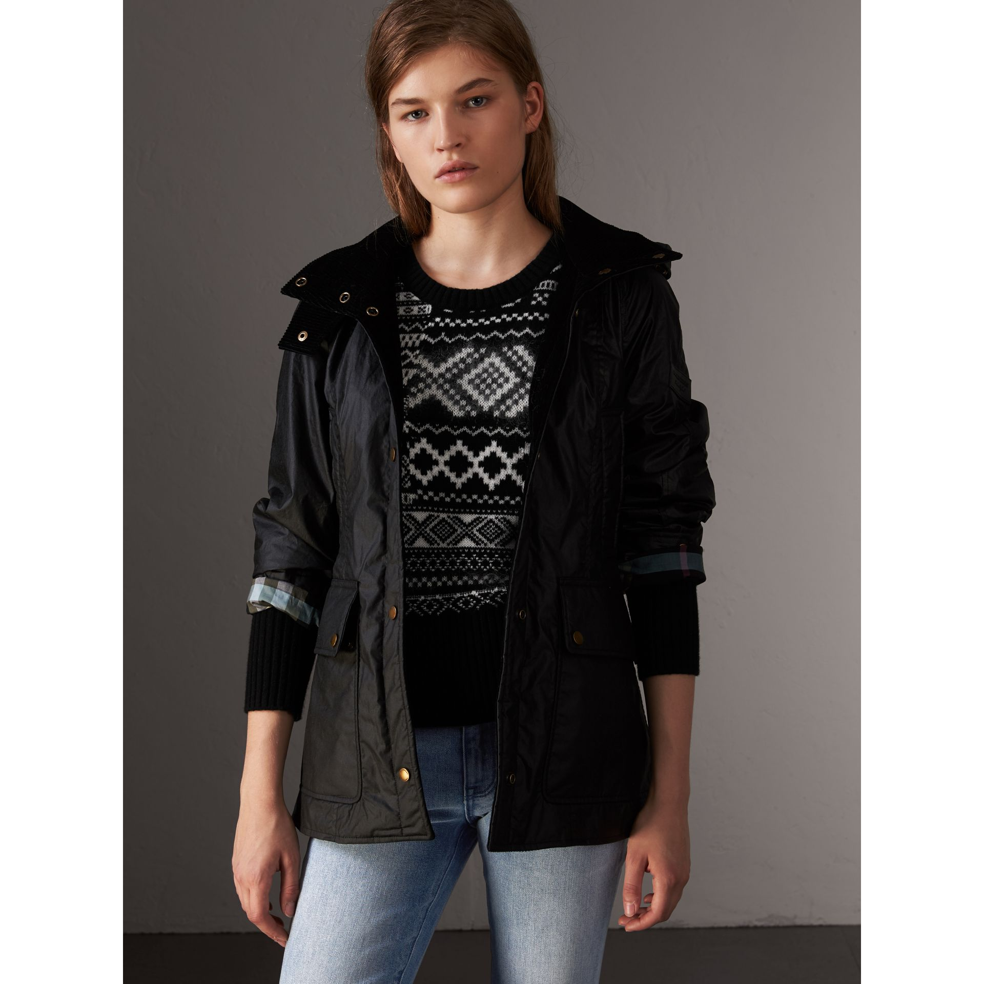 Detachable Hood Waxed Cotton Field Jacket in Black - Women | Burberry United States - gallery image 0