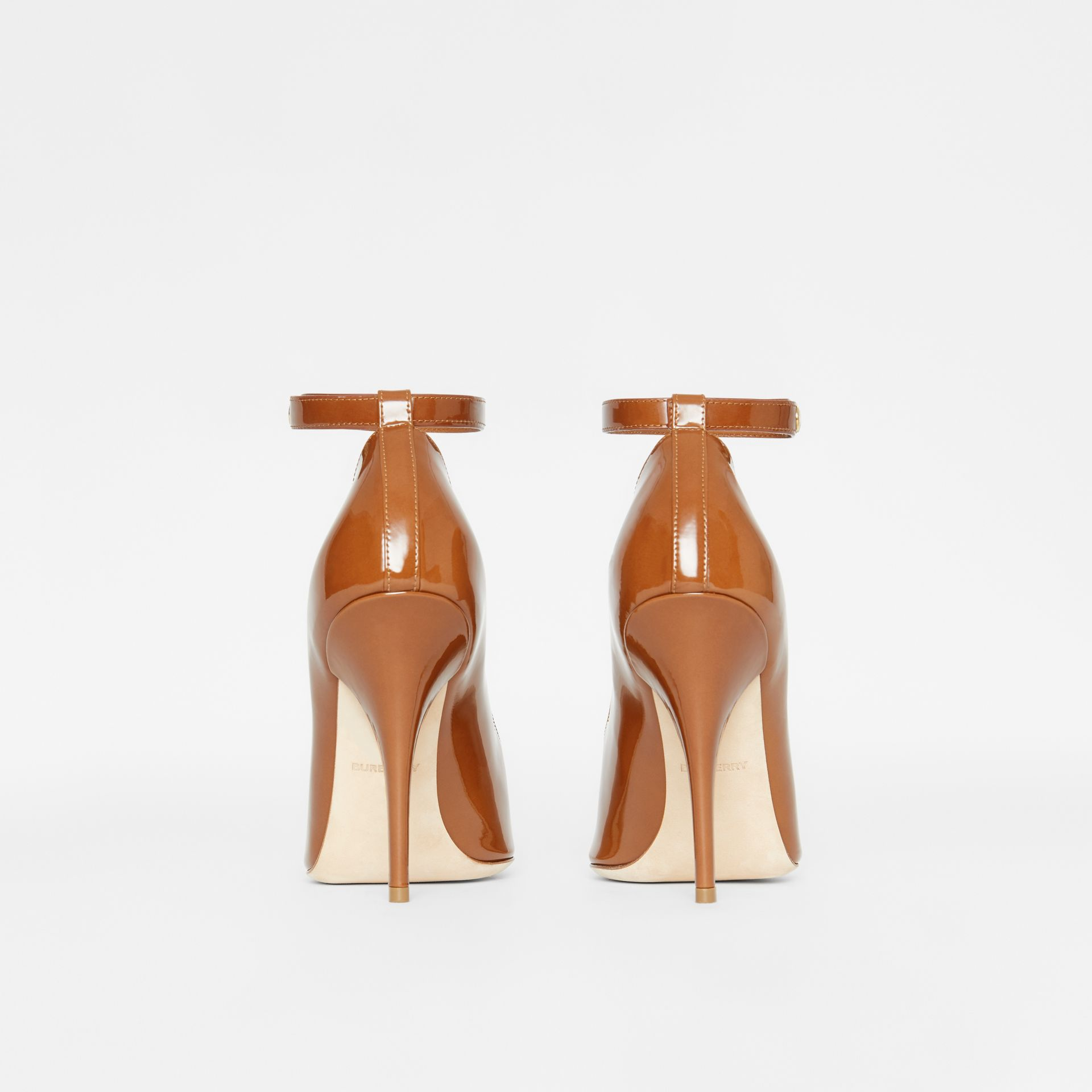 Triple Stud Patent Leather Point-toe Pumps in Tan - Women | Burberry - gallery image 3