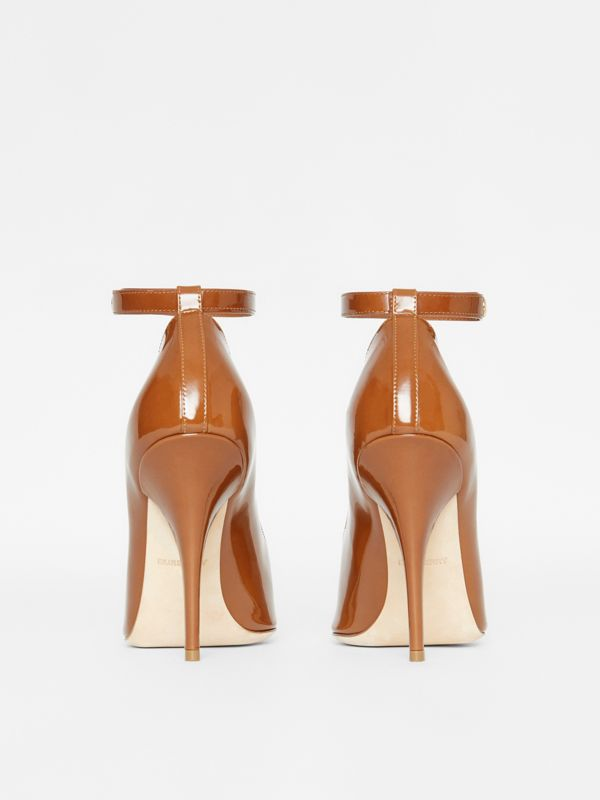Triple Stud Patent Leather Point-toe Pumps in Tan - Women | Burberry - cell image 3