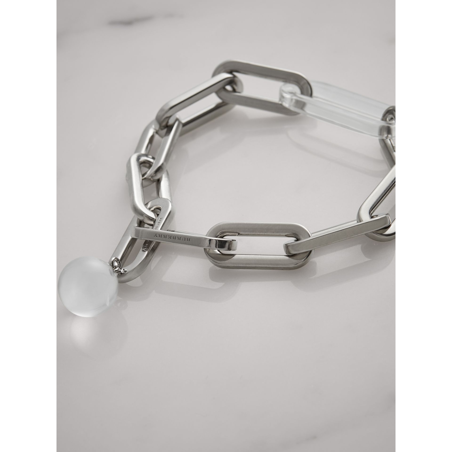 Glass Charm Palladium-plated Link Bracelet in Palladio - Women | Burberry Singapore - gallery image 2