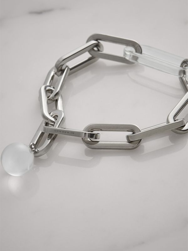 Glass Charm Palladium-plated Link Bracelet in Palladio - Women | Burberry United Kingdom - cell image 2