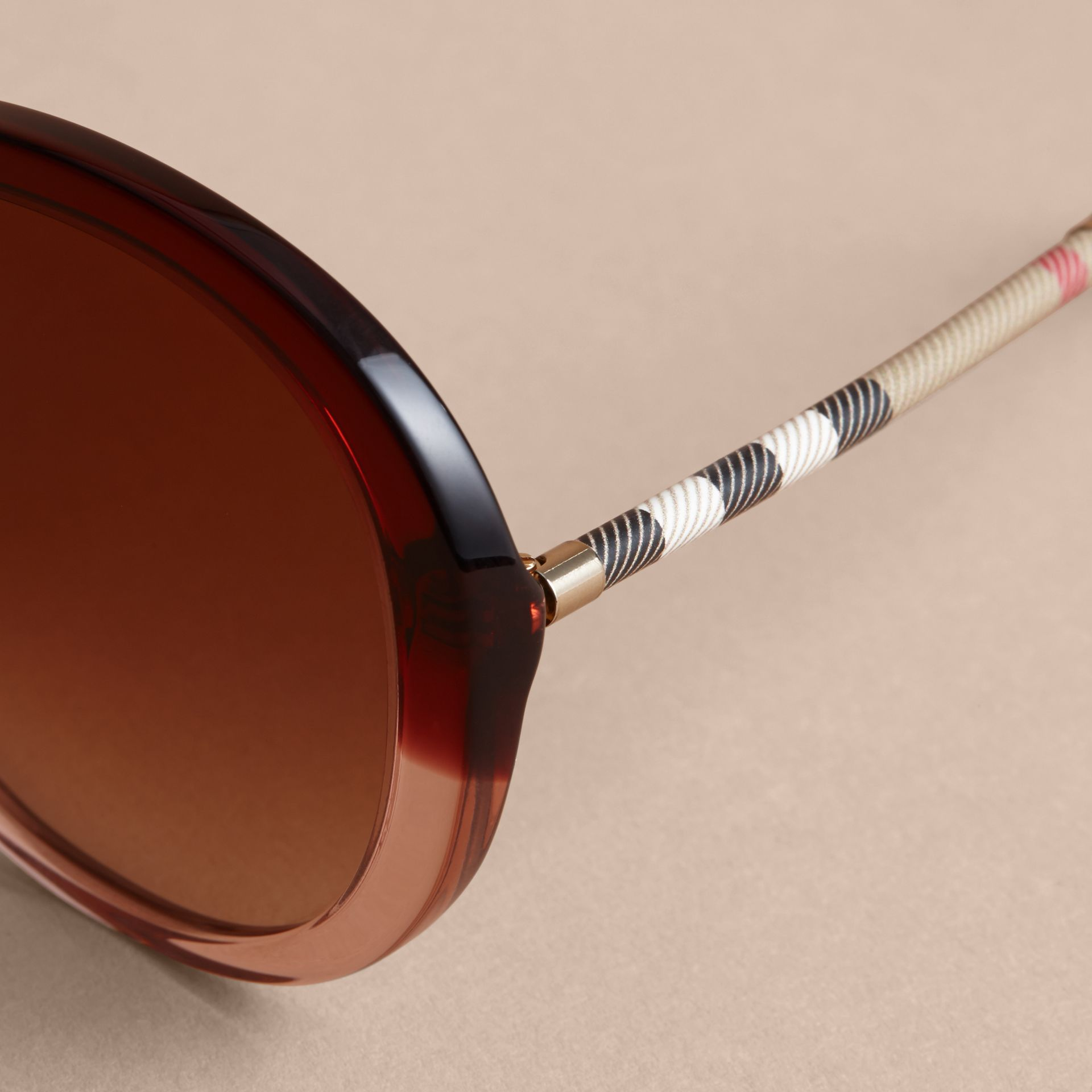 Check Detail Round Frame Sunglasses Oxblood - gallery image 2