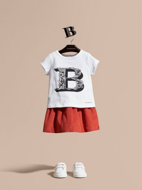 Decorative Letter Motif Cotton T-Shirt