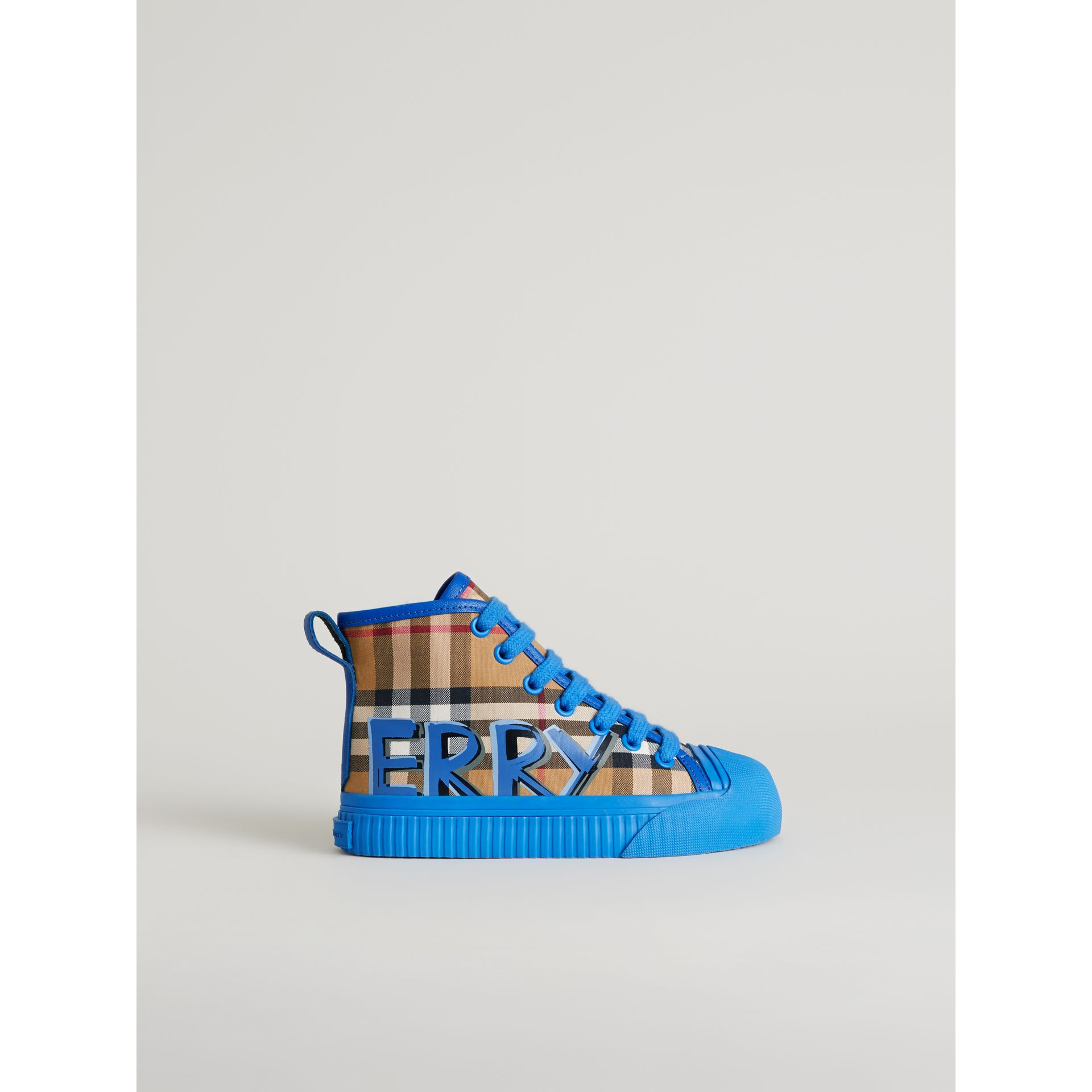 Graffiti Vintage Check High-top Sneakers in Bright Sky Blue | Burberry Singapore - gallery image 3
