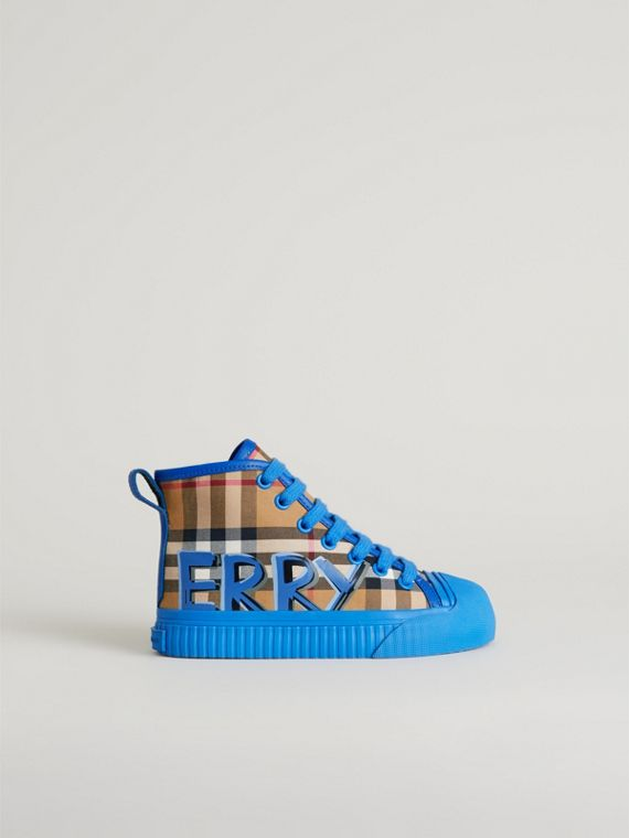 Graffiti Vintage Check High-top Sneakers in Bright Sky Blue | Burberry - cell image 3