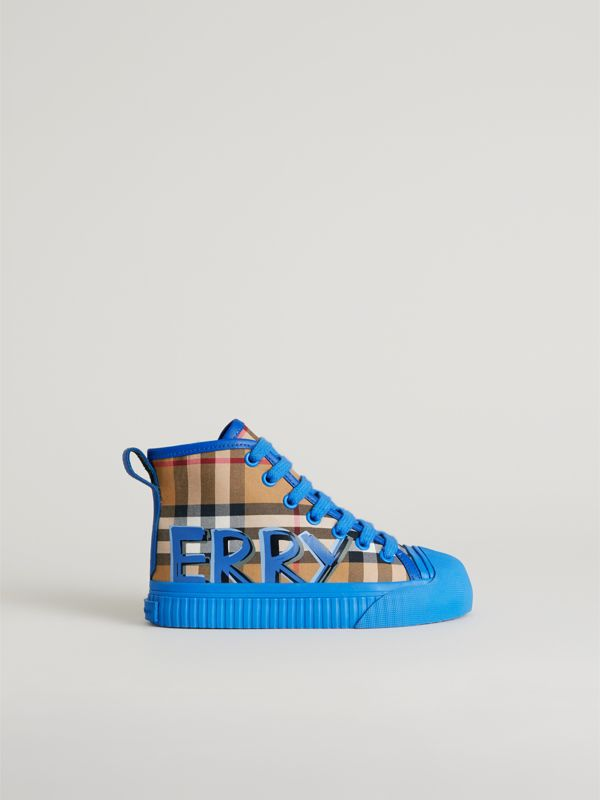 Graffiti Vintage Check High-top Sneakers in Bright Sky Blue | Burberry Singapore - cell image 3