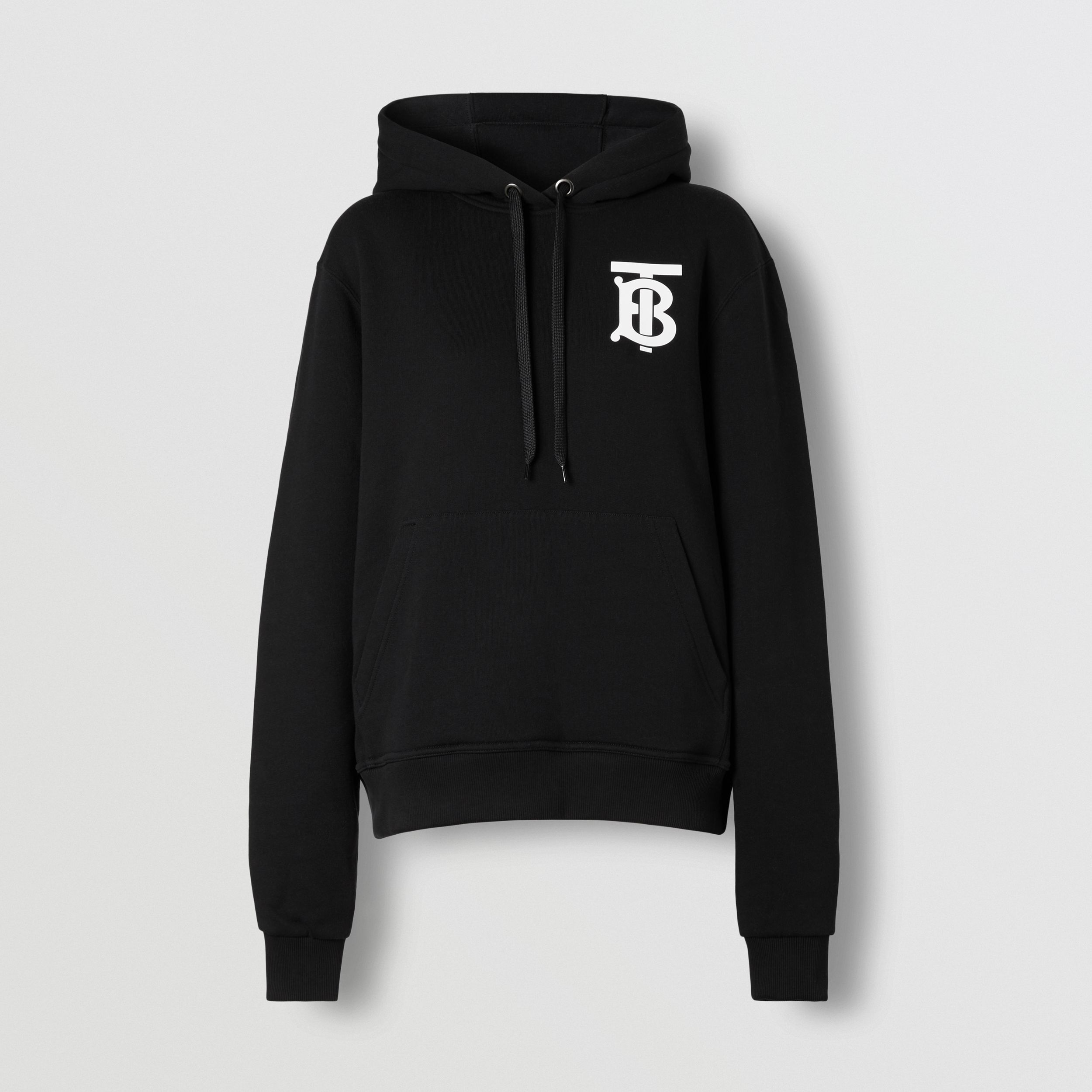 Monogram Motif Cotton Hoodie in Black - Women | Burberry - 4