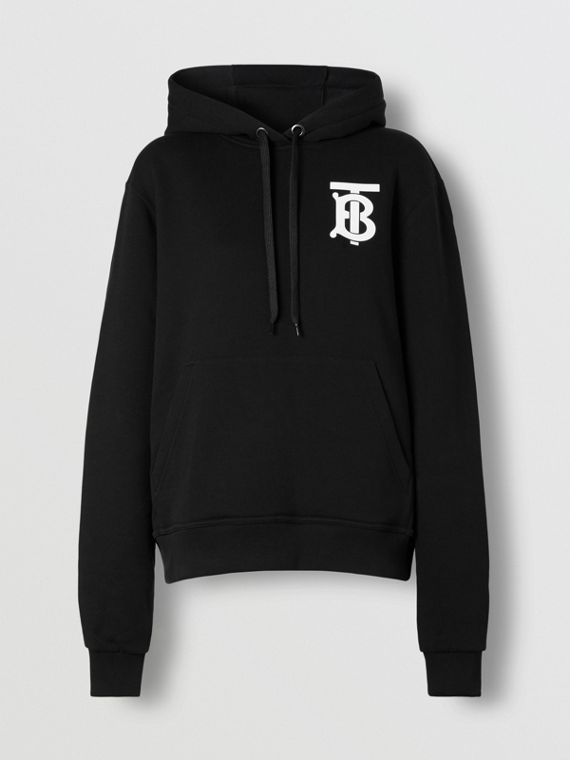 Monogram Motif Cotton Hoodie in Black