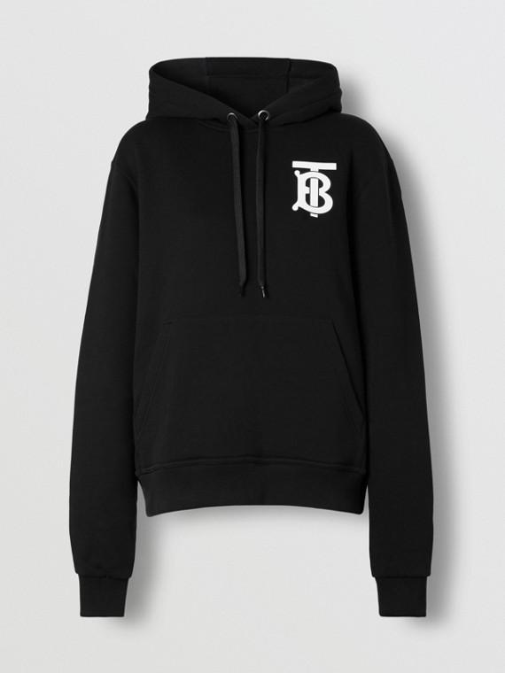 Sudadera en algodón con capucha y motivo de monograma (Negro)