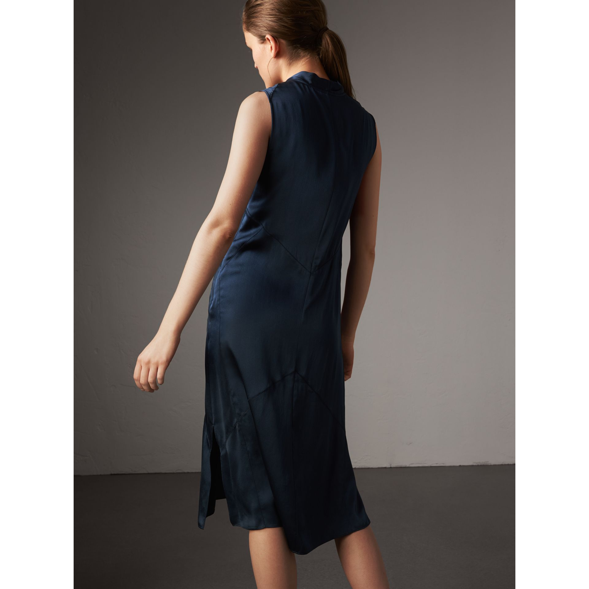 Washed Silk Satin Tie-neck Dress in Navy - Women | Burberry - gallery image 3
