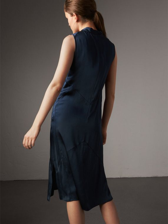 Washed Silk Satin Tie-neck Dress in Navy - Women | Burberry - cell image 2