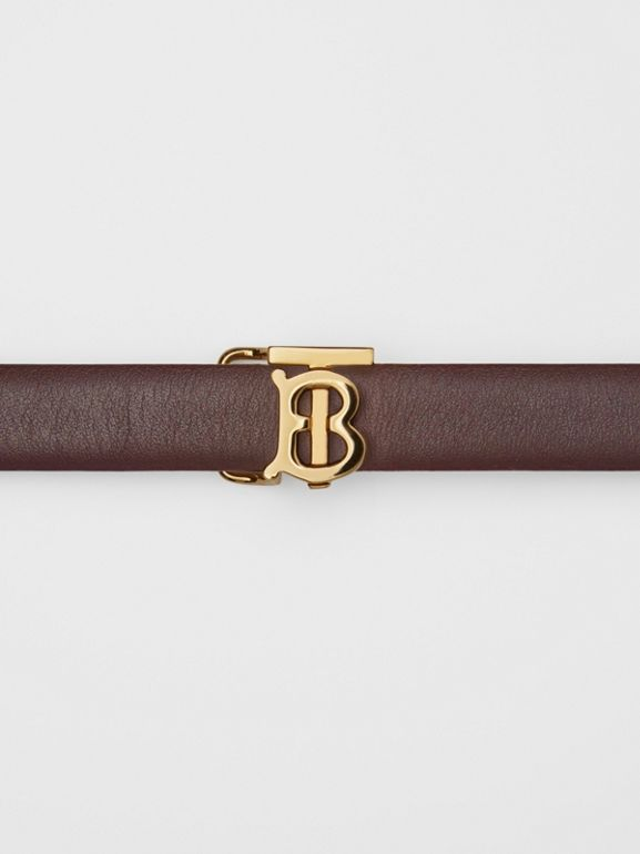 Reversible Monogram Motif Leather Wrap Belt in Oxblood/rose Beige - Women | Burberry United States - cell image 1