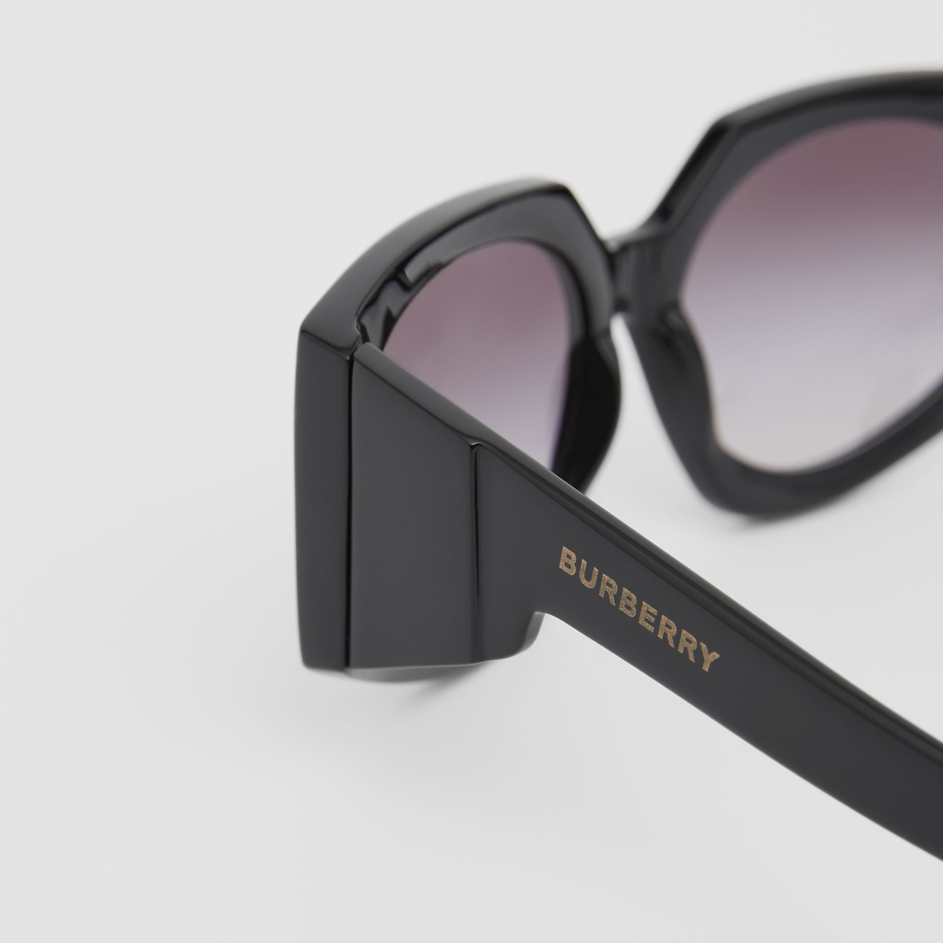 Geometric Frame Sunglasses in Black - Women | Burberry Canada - gallery image 1