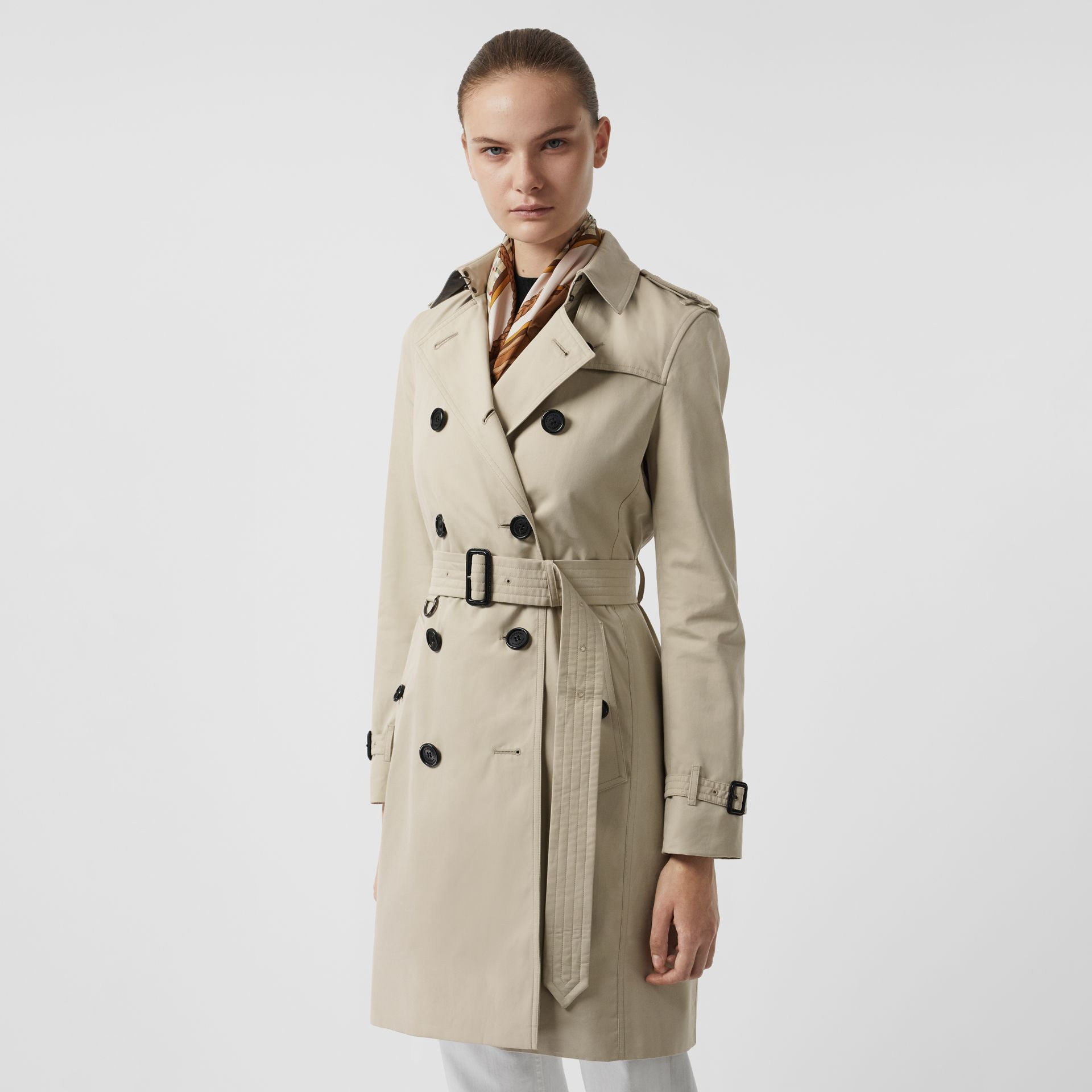 Kensington Fit Cotton Gabardine Trench Coat in Stone - Women | Burberry - gallery image 6