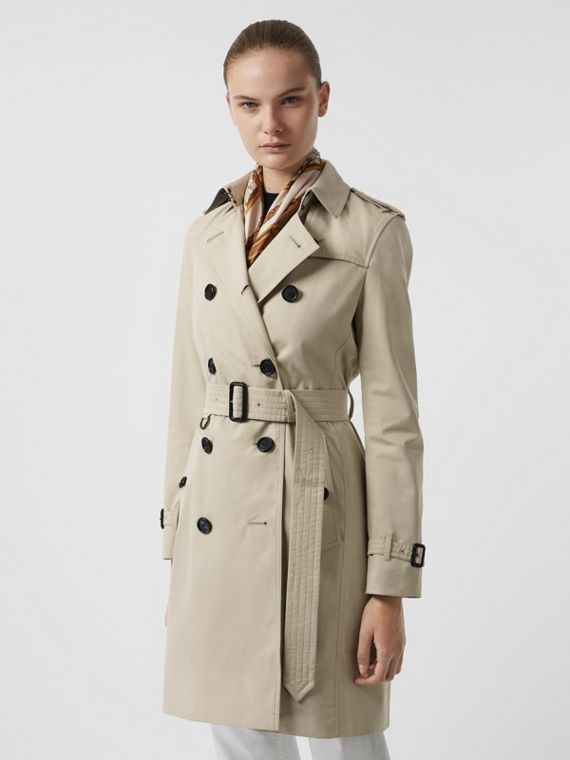 Kensington Fit Cotton Gabardine Trench Coat in Stone