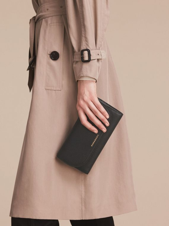 Leather Wallet with Chain in Black - Women | Burberry - cell image 3