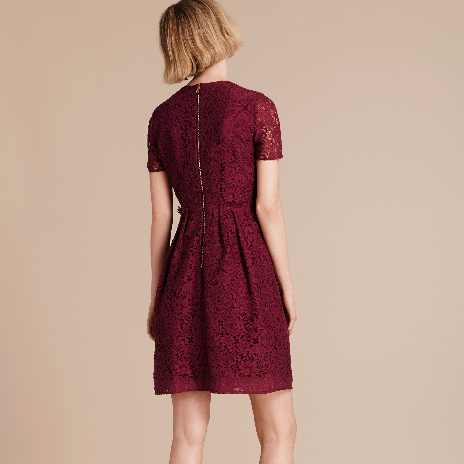 Dark crimson Italian Lace A-line Dress - gallery image 3