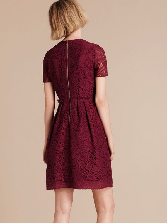Dark crimson Italian Lace A-line Dress - cell image 2