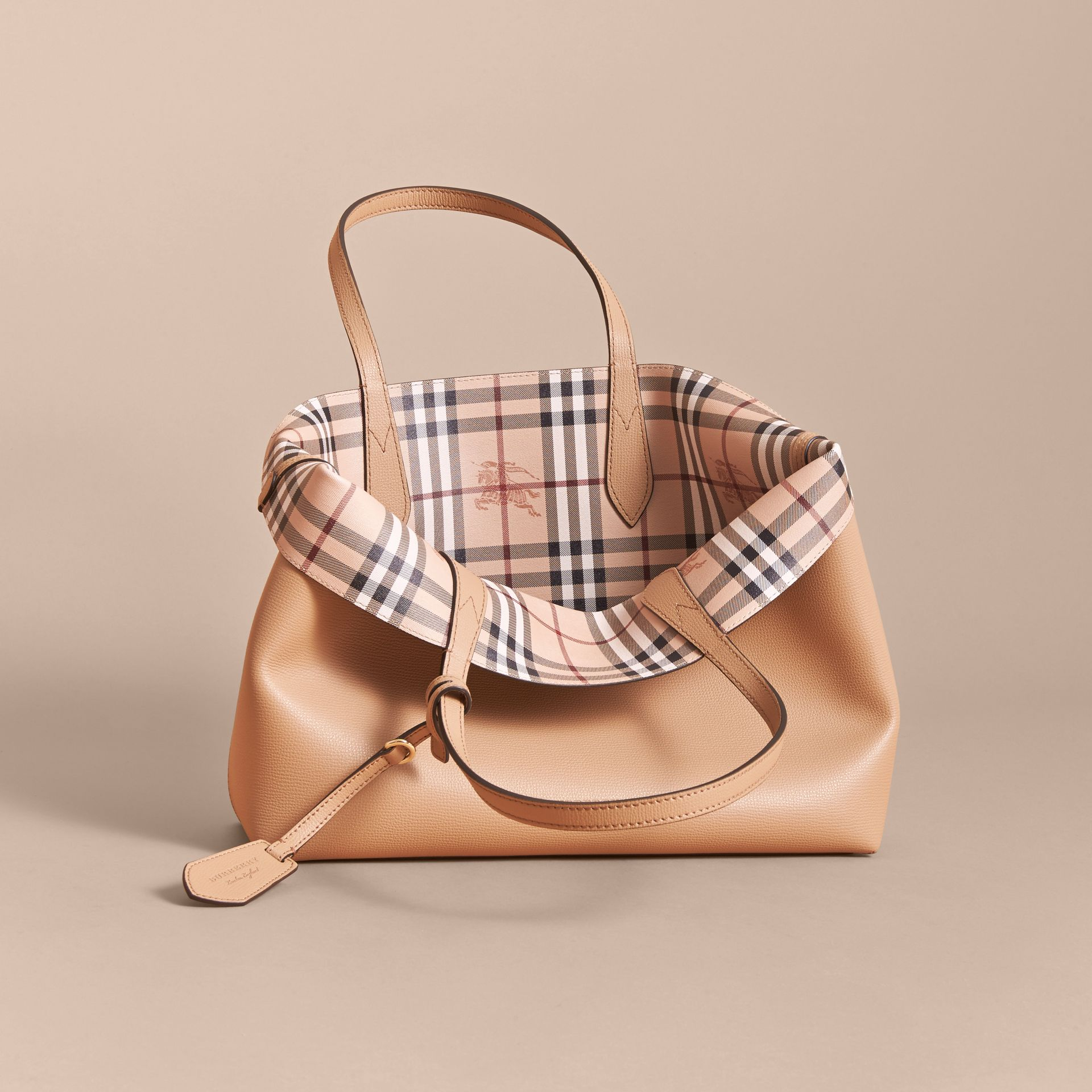 The Medium Reversible Tote in Haymarket Check and Leather Mid Camel - gallery image 6