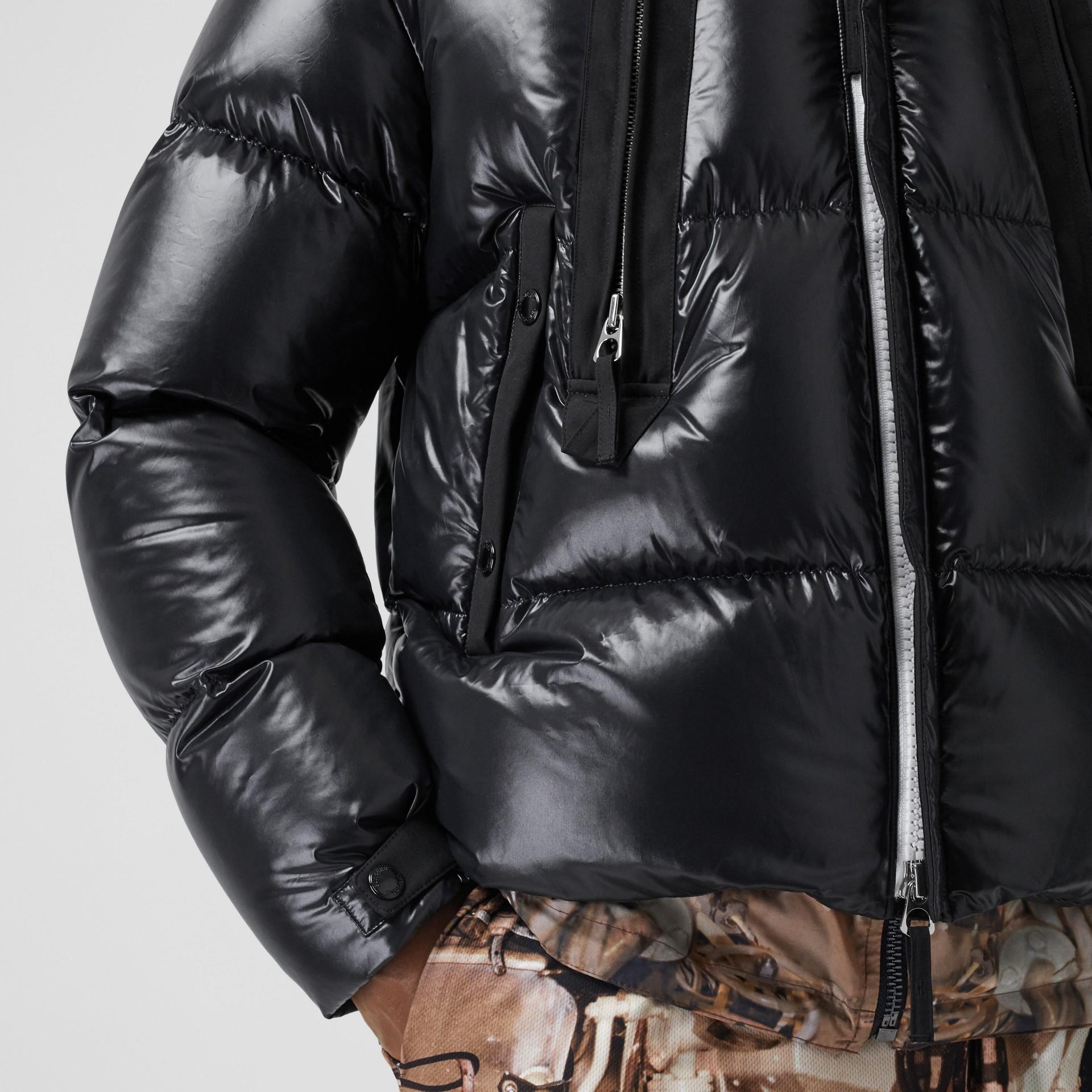 Packaway Hood Puffer Jacket in Black - Men | Burberry - gallery image 4