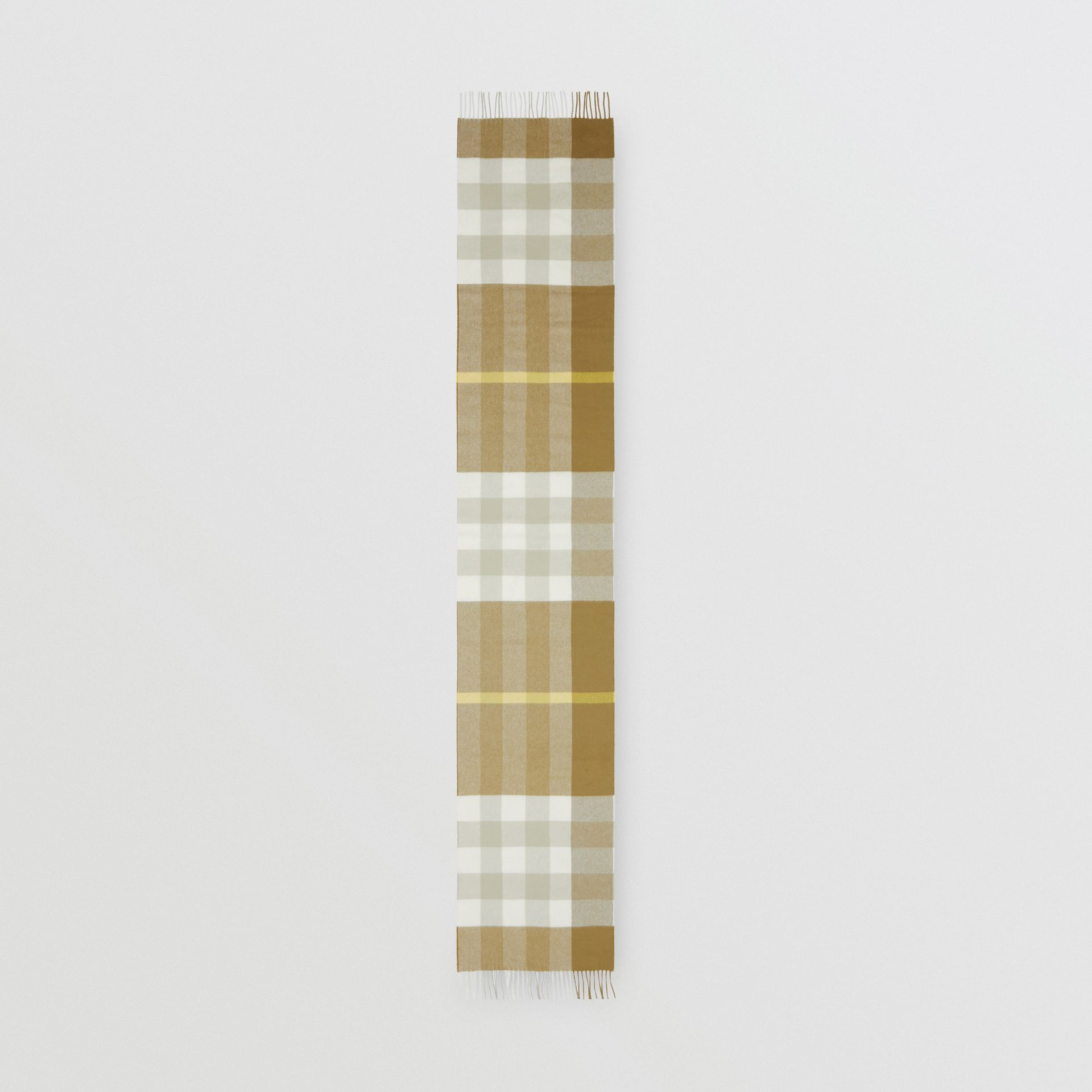 Check Cashmere Scarf in Deep Olive | Burberry United Kingdom - gallery image 4