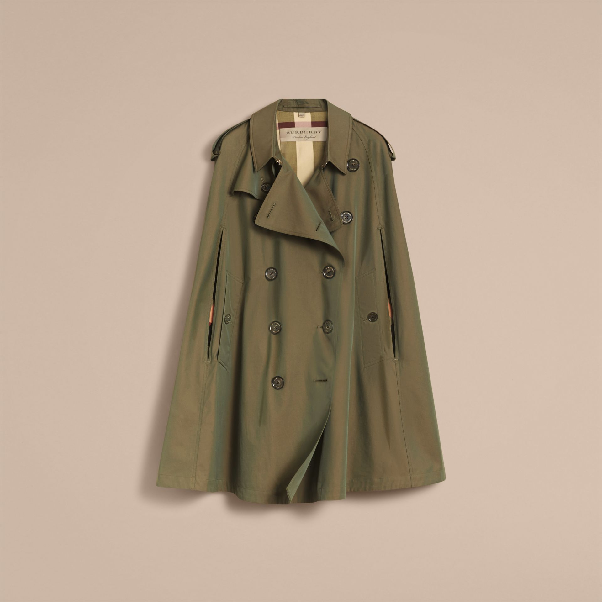 Tropical Gabardine Cape with Check Detail in Bright Olive - Women | Burberry Australia - gallery image 4