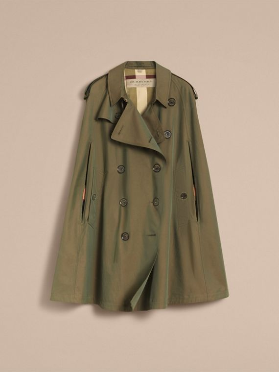 Tropical Gabardine Cape with Check Detail in Bright Olive - Women | Burberry Australia - cell image 3