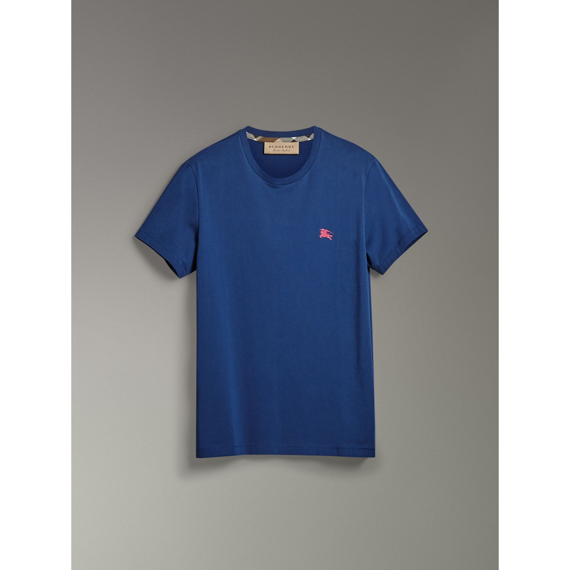 Cotton Jersey T-shirt in Bright Navy - Men | Burberry - gallery image 3