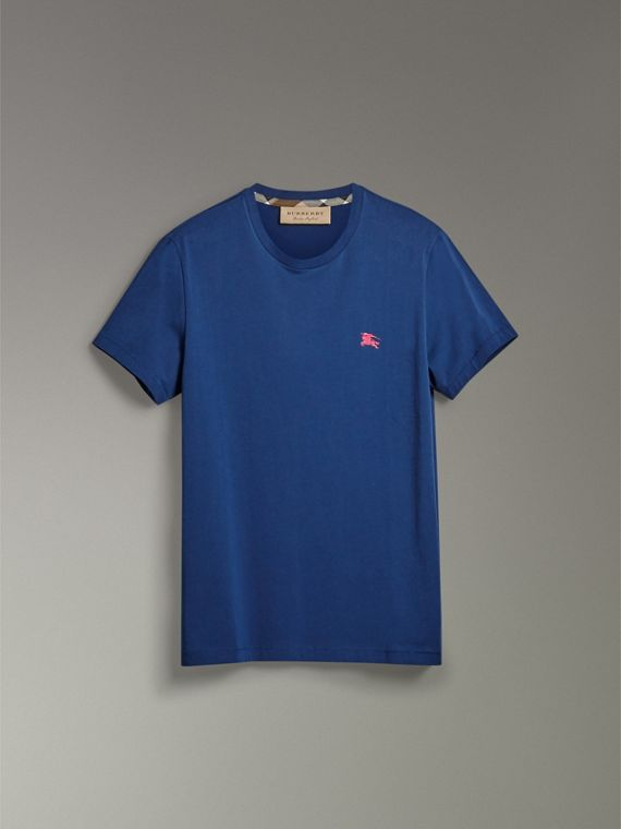 Cotton Jersey T-shirt in Bright Navy - Men | Burberry United Kingdom - cell image 3