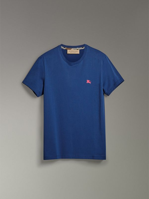 Cotton Jersey T-shirt in Bright Navy - Men | Burberry Hong Kong - cell image 3