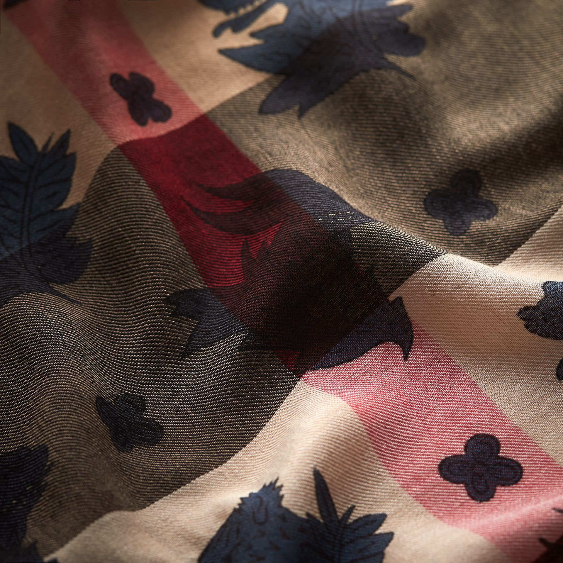 Beasts Print and Check Silk Wool Blend Square Scarf in Camel/stone Blue | Burberry Hong Kong - gallery image 2