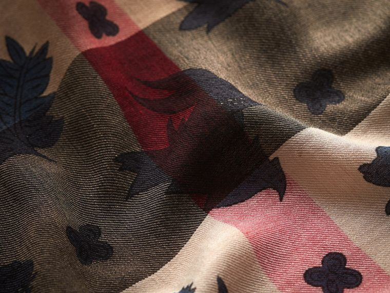 Beasts Print and Check Silk Wool Blend Square Scarf in Camel/stone Blue | Burberry Hong Kong - cell image 1
