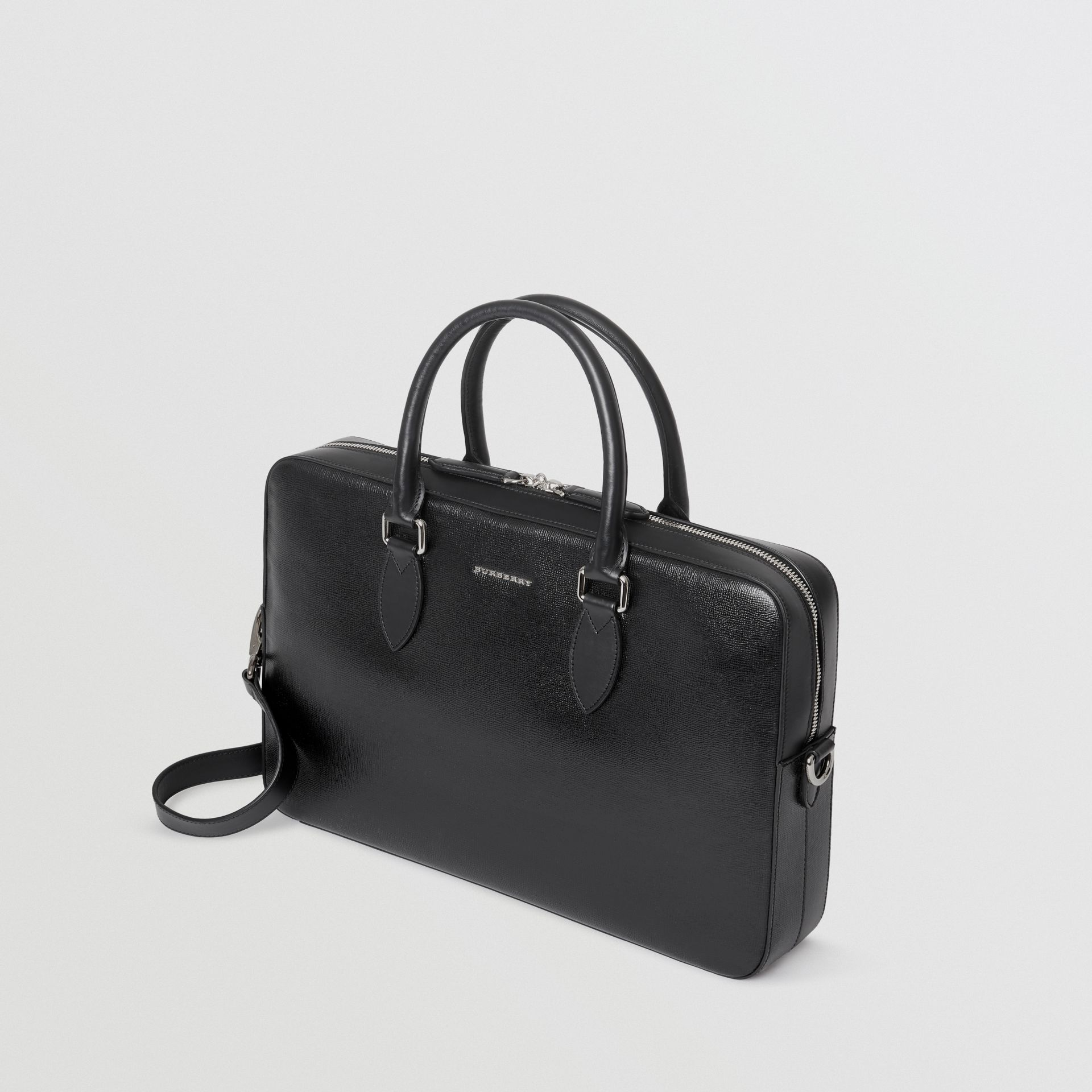 London Leather Briefcase in Black - Men | Burberry United States - gallery image 2