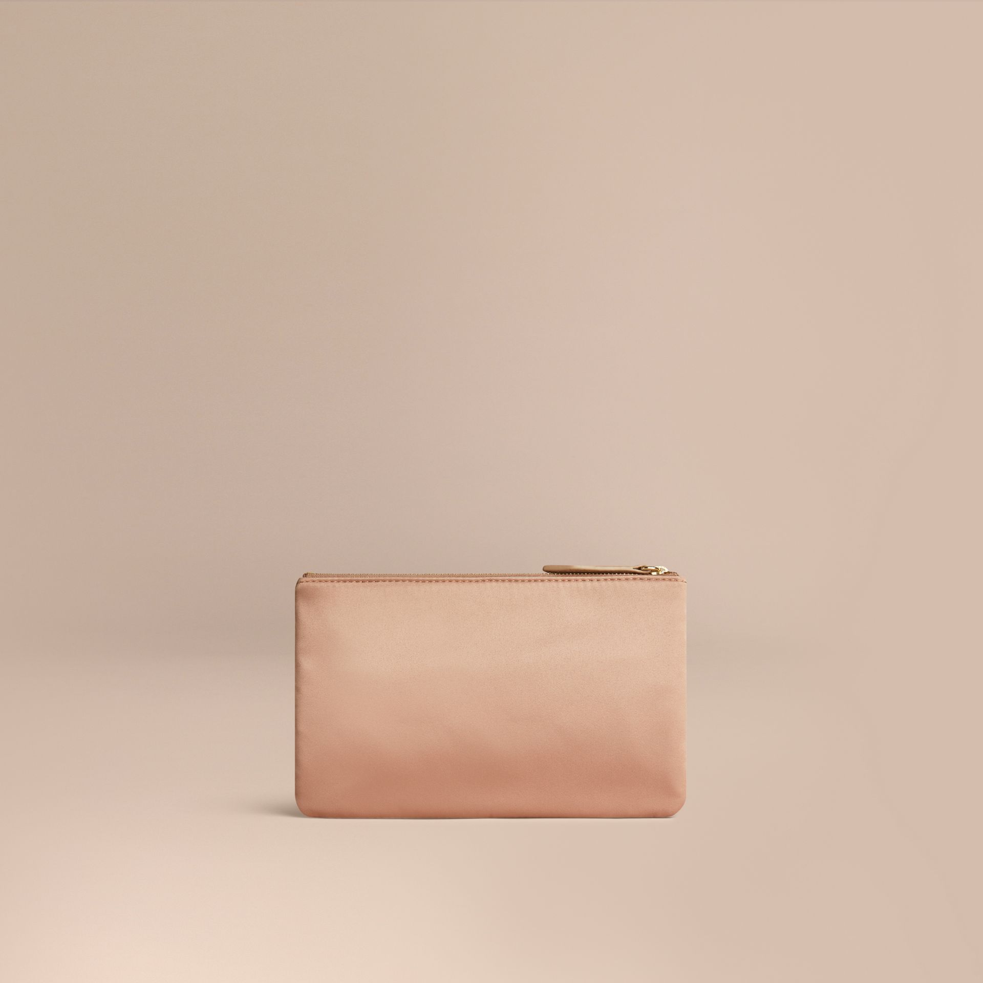 Nude Small Satin Beauty Wallet - gallery image 1