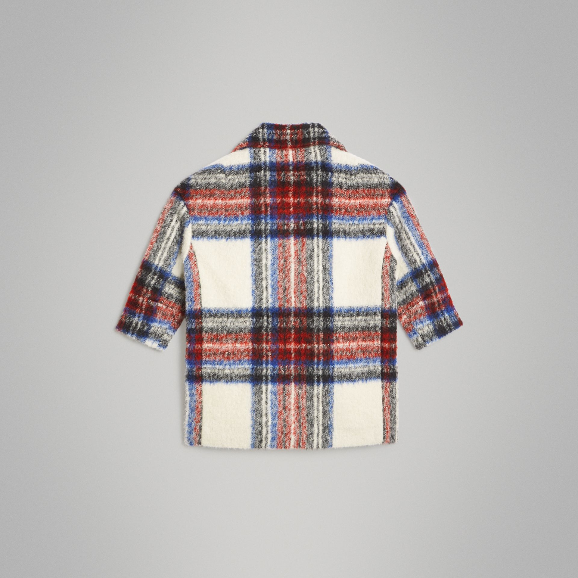 Tartan Wool Alpaca Blend Tailored Coat in Natural White - Children | Burberry - gallery image 3