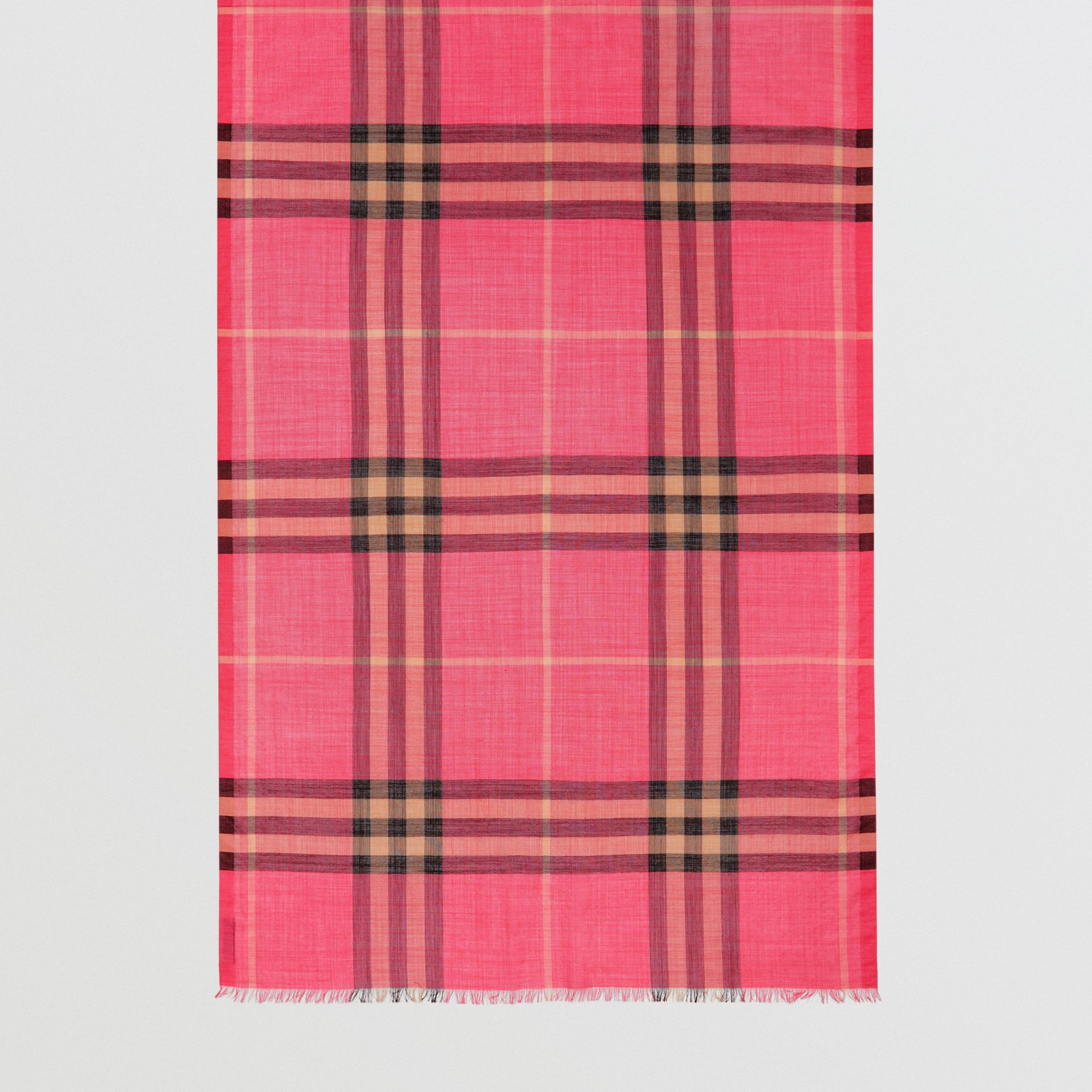 Lightweight Check Wool and Silk Scarf in Rose Pink | Burberry - gallery image 4