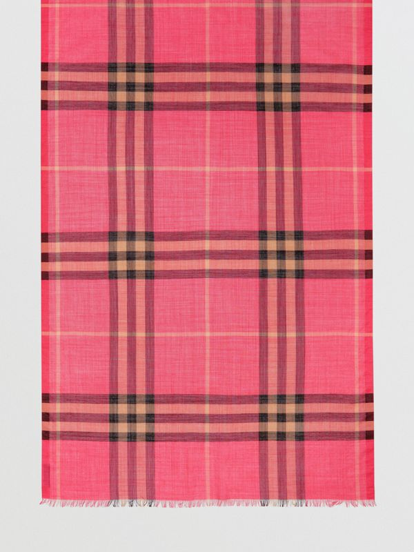 Lightweight Check Wool and Silk Scarf in Rose Pink | Burberry Singapore - cell image 3