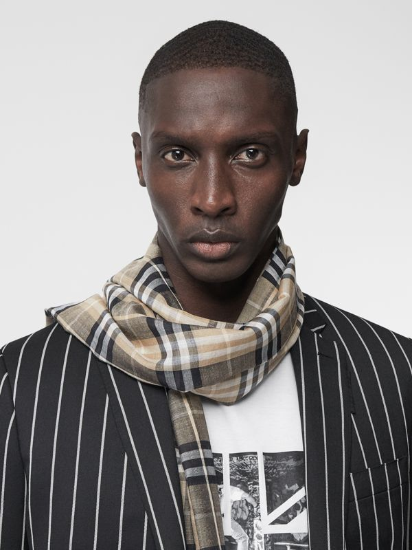 Vintage Check Lightweight Wool Silk Scarf in Pale Honey | Burberry Singapore - cell image 3