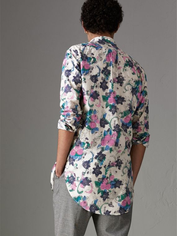 Watercolour Floral Print Shirt in Natural - Men | Burberry Canada - cell image 2