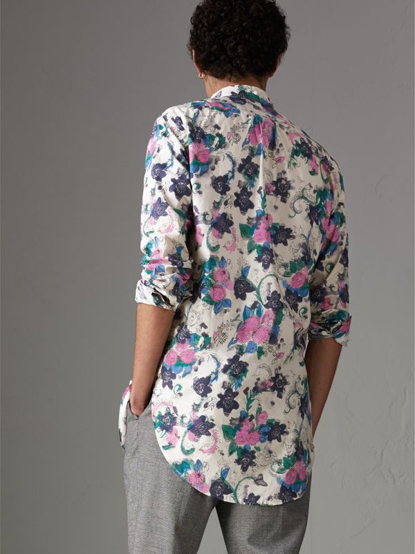 Camisa com estampa floral aquarelada (Natural) - Homens | Burberry - cell image 2