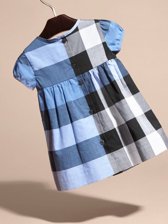 Cap-sleeved Check Cotton Voile Dress Hydrangea Blue - cell image 3