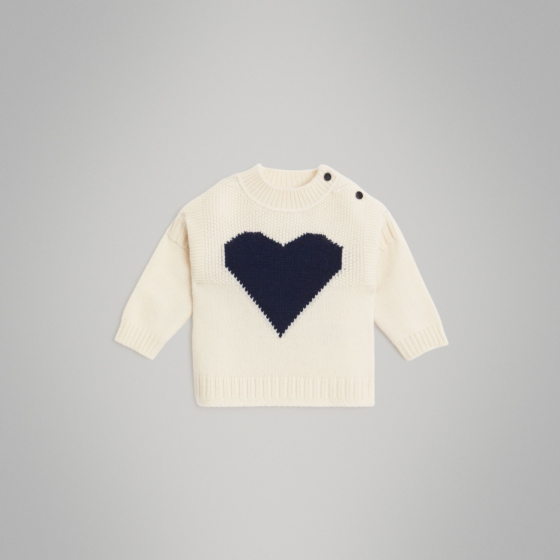 Heart Intarsia Wool Cashmere Sweater in Ivory - Children | Burberry - gallery image 0