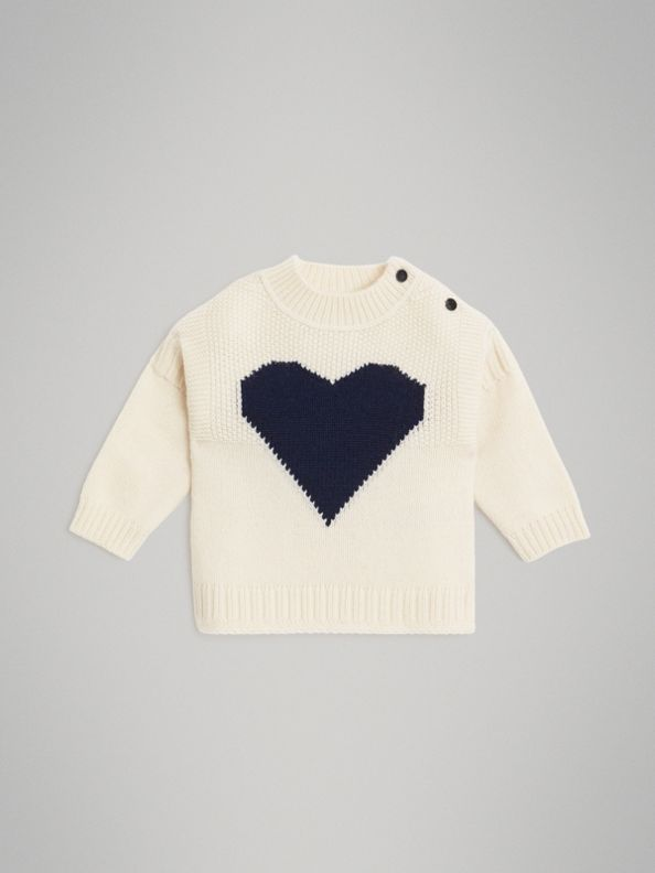 Heart Intarsia Wool Cashmere Sweater in Ivory