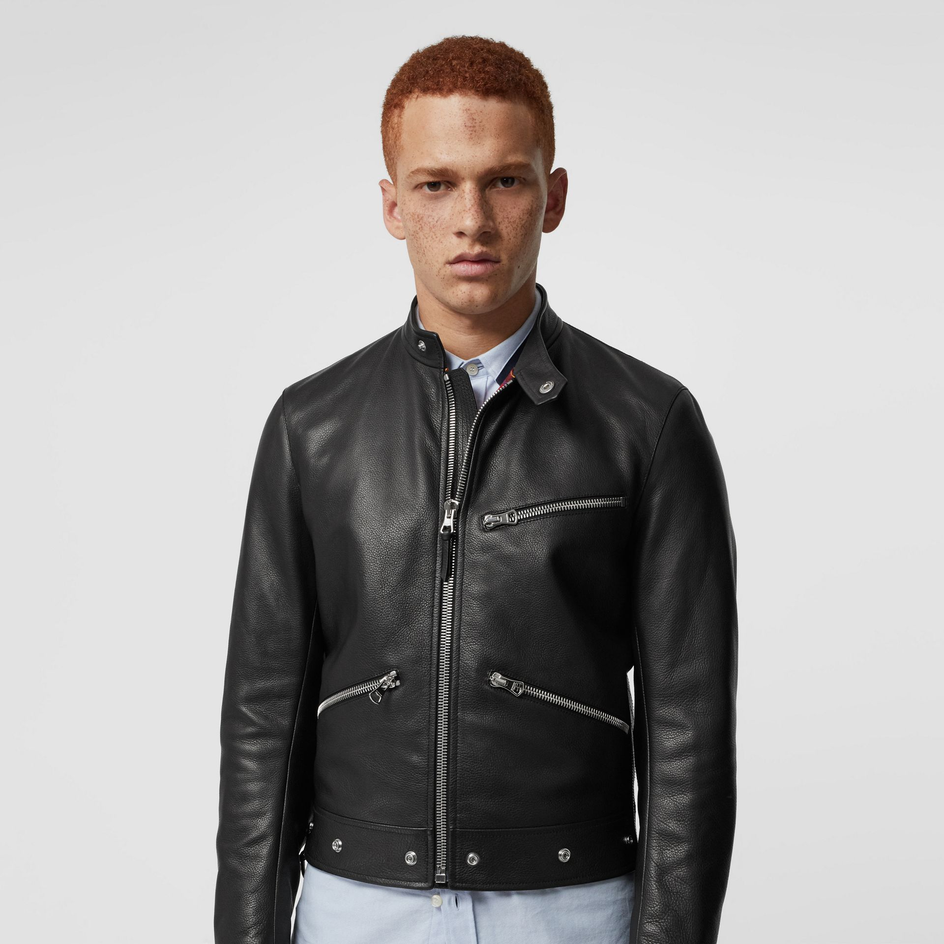 Zip Detail Leather Jacket in Black - Men | Burberry - gallery image 5