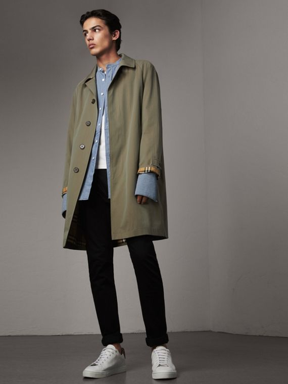 The Camden – Long Car Coat in Chalk Green