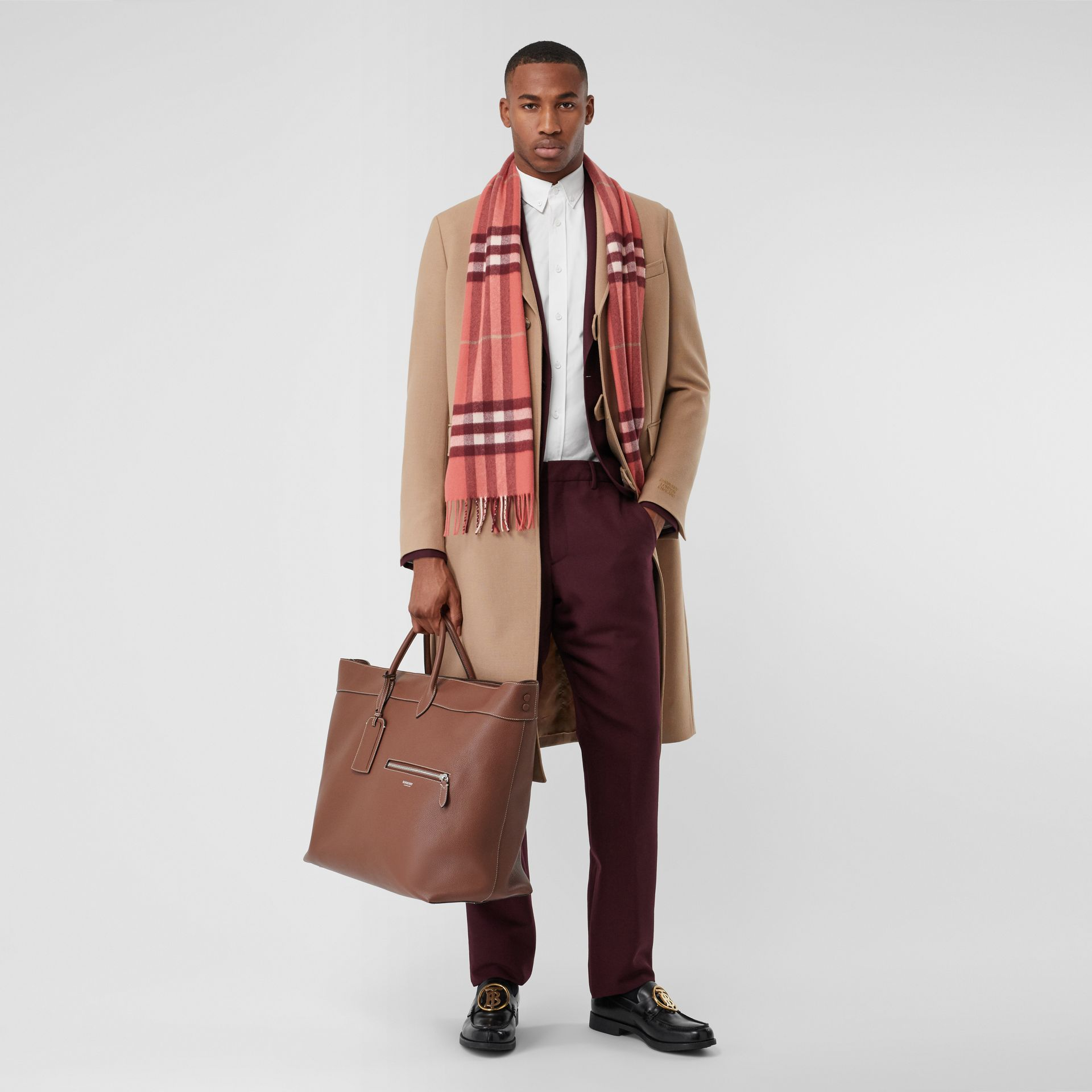 The Classic Check Cashmere Scarf in Clay Sienna | Burberry United Kingdom - gallery image 6